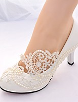 cheap -Women's Shoes Lace Spring & Summer Slingback / Basic Pump Wedding Shoes Stiletto Heel Round Toe Rhinestone / Imitation Pearl White
