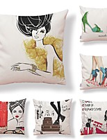cheap -6 pcs Textile / Cotton / Linen Pillow case, Art Deco / Simple / Printing Square Shaped / Casual