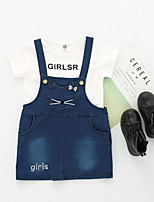 cheap -Kids Toddler Girls' Solid Colored Print Short Sleeves Clothing Set