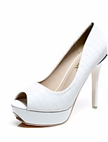 cheap -Women's Shoes PU(Polyurethane) Summer Basic Pump Heels Stiletto Heel Peep Toe White / Black