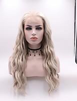Недорогие -Синтетические кружевные передние парики Кудрявый Стрижка каскад Искусственные волосы вьющийся Светло-коричневый Парик Жен. Средняя длина