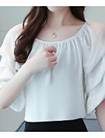 Недорогие -Жен. Блуза С открытыми плечами Вырез лодочкой Однотонный