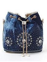 economico -Per donna Sacchetti pelle sintetica / Jeans Borsa a tracolla Perline / Dettagli con cristalli Oro / Argento