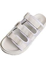 preiswerte -Damen Schuhe PU Sommer Komfort Slippers & Flip-Flops Flacher Absatz für Normal Weiß Schwarz Rosa