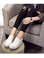 Недорогие -Жен. Обувь Кожа Весна лето Удобная обувь Кеды Микропоры Белый / Черный
