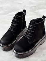 Недорогие -Жен. Обувь Кожа Наступила зима Армейские ботинки Ботинки На толстом каблуке Круглый носок Ботинки Черный / Верблюжий