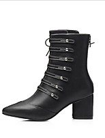 cheap -Women's Shoes Leather Fall Comfort Boots Chunky Heel for Casual Black