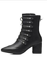 abordables -Femme Chaussures Cuir Automne Confort Bottes Talon Bottier pour Décontracté Noir