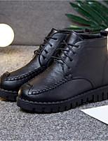 Недорогие -Жен. Обувь Полиуретан Наступила зима Удобная обувь Ботинки На плоской подошве Круглый носок Черный / Серый