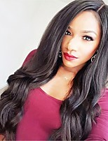 cheap -Virgin Human Hair Wig Brazilian Hair Body Wave Wavy Middle Part Layered Haircut 130% Density With Baby Hair For Black Women Black Short