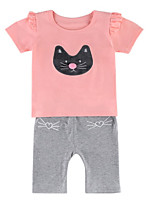 cheap -Toddler Girls' Print Short Sleeves Clothing Set