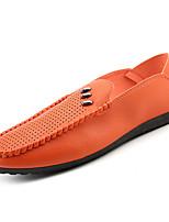 Недорогие -Муж. обувь Искусственное волокно Дерматин Лето Мокасины Удобная обувь Мокасины и Свитер для на открытом воздухе Белый Черный Оранжевый
