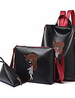 preiswerte -Damen Taschen PU-Leder Bag Set 3 Stück Geldbörse Set Muster / Druck für Draussen Schwarz / Rote