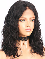 cheap -Remy Human Hair Lace Front Wig Wig Brazilian Hair / Water Wave Wavy Bob Haircut 130% Density With Baby Hair / Natural Hairline / African American Wig Women's Short / Mid Length Human Hair Lace Wig