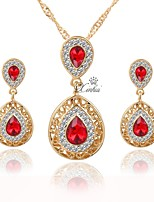 cheap -Women's Jewelry Set - Gold Plated Simple, Lovely, Fashion Include Pendant Necklace / Pendant / Bridal Jewelry Sets Red For Wedding / Office & Career