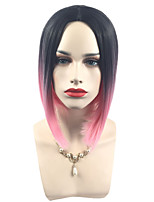 cheap -Synthetic Wig Straight Bob Haircut / Pixie Cut Synthetic Hair Color Gradient / Middle Part Bob / Dark Roots Rose Pink Wig Women's Short Capless / Yes