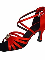 cheap -Women's Latin Shoes Silk Heel Performance / Practice Stiletto Heel Dance Shoes Gold / Red