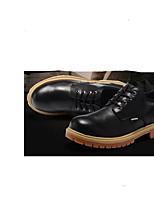 Недорогие -Муж. обувь Наппа Leather / Кожа Зима Удобная обувь Туфли на шнуровке Ботинки Черный