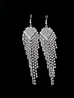cheap -Women's Crystal Drop Earrings - Tassel Silver For Wedding / Party