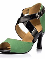 cheap -Women's Latin Shoes Nubuck leather Heel Performance / Practice Stiletto Heel Dance Shoes Black / Green
