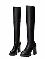 cheap -Women's Shoes PU(Polyurethane) Fall & Winter Fashion Boots Boots Chunky Heel Round Toe Over The Knee Boots Black