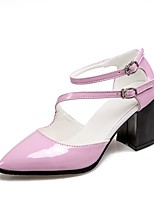 cheap -Women's Shoes Patent Leather Summer / Fall Ankle Strap Heels Chunky Heel Pointed Toe Buckle White / Black / Pink / Party & Evening