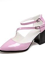 abordables -Femme Chaussures Cuir Verni Eté / Automne Bride de Cheville Chaussures à Talons Talon Bottier Bout pointu Boucle Blanc / Noir / Rose