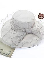 Недорогие -Жен. Для вечеринки / Праздник Панама / Широкополая шляпа - Бусины / Оборки / Сетка Однотонный