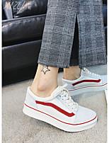 Недорогие -Жен. Обувь Кожа Весна Удобная обувь Кеды На плоской подошве Круглый носок Белый / Черный