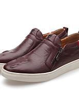 Недорогие -Муж. обувь Наппа Leather / Кожа Весна Удобная обувь Мокасины и Свитер Черный / Вино