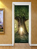 abordables -Autocollants muraux décoratifs Autocollants de porte - Autocollants muraux 3D Paysage 3D Salle de séjour Chambre à coucher Salle de bain