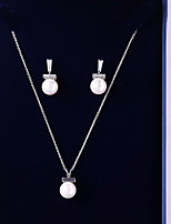 cheap -Women's Cubic Zirconia Jewelry Set - Ball Korean, Fashion Include Drop Earrings / Pendant Necklace White For Wedding / Party