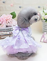 cheap -Dogs Cats Furry Small Pets Pets Dress Dog Clothes Flower Princess Bowknot Purple Pink 100% Polyester Costume For Pets Female Cute Fashion