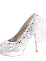 abordables -Femme Chaussures Satin Printemps été Escarpin Basique Chaussures de mariage Talon Aiguille Bout rond Strass / Perle pour Mariage Blanc