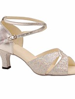 cheap -Women's Latin Shoes Paillette Heel Performance / Practice Stiletto Heel Dance Shoes Silver