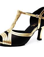 Недорогие -Жен. Обувь для латины Полиуретан На каблуках На толстом каблуке Танцевальная обувь Черный и золотой / Выступление / Кожа / Тренировочные