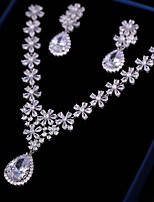 cheap -Women's Cubic Zirconia Jewelry Set - Flower Fashion Include Drop Earrings / Pendant Necklace White For Wedding / Engagement