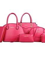 cheap -Women's Bags PU Bag Set 6 Pieces Purse Set Zipper for Event / Party Black / Purple / Fuchsia