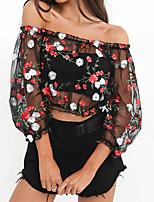 baratos -Mulheres Blusa Básico / Moda de Rua Com Transparência / Bordado, Floral