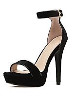 baratos -Mulheres Sapatos Couro Ecológico Verão Gladiador Saltos Salto Agulha Dedo Aberto Presilha Preto / Vinho