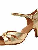 cheap -Women's Latin Shoes PU Heel Performance / Practice Stiletto Heel Dance Shoes Gold