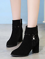cheap -Women's Shoes Nubuck leather Winter Comfort Boots Chunky Heel for Black Gray Khaki
