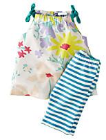 cheap -Toddler Girls' Sun Flower Striped / Floral Sleeveless Clothing Set