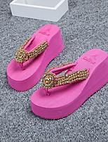 cheap -Women's Shoes Paillette Summer Comfort Slippers & Flip-Flops Creepers Beige / Fuchsia