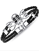 cheap -Men's Skull 1 Bangles - Vintage Geometric Black Silver Brown Bracelet For Gift Daily