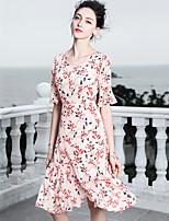 cheap -Blueskybutterfly Women's Basic / Sophisticated Butterfly Sleeves Trumpet / Mermaid Dress - Floral Ruffle
