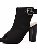 cheap -Women's Shoes Suede Spring & Summer Fashion Boots Boots Chunky Heel Peep Toe Booties / Ankle Boots Buckle Black