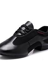 Недорогие -Жен. Обувь для модерна Кожа На каблуках Учебный / Профессиональный стиль На низком каблуке Персонализируемая Танцевальная обувь Черный