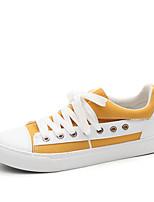 Недорогие -Жен. Обувь Полотно Весна лето Удобная обувь / Вулканизованная обувь Кеды На плоской подошве Круглый носок Оборки сбоку Белый / Черный /