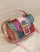 cheap -Women's Bags PU Leather Shoulder Bag Sequin Black / Red / Rainbow